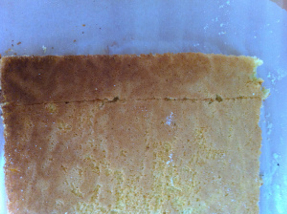 Then a scored line using a sharp knife was used about an inch from one short end of the cake.