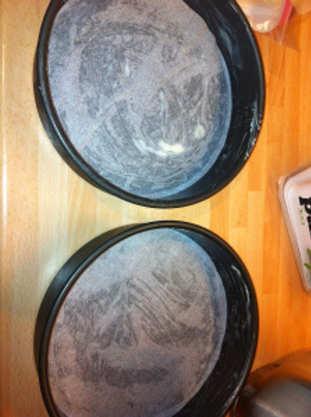 """I greased two sandwich tins, these were 7"""" diameter ones."""