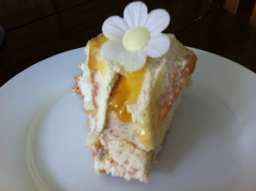 A slice of Angel Cake cut up for pudding.