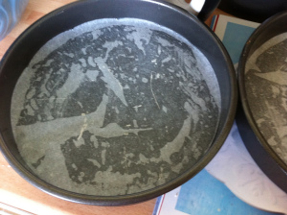 """Two 20cm/ 8"""" diameter sandwich tins were greased and lined."""