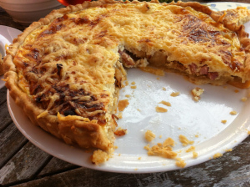 Quiche Lorraine, recipe featured on page 88 of Mary Berry's Cookery Course.