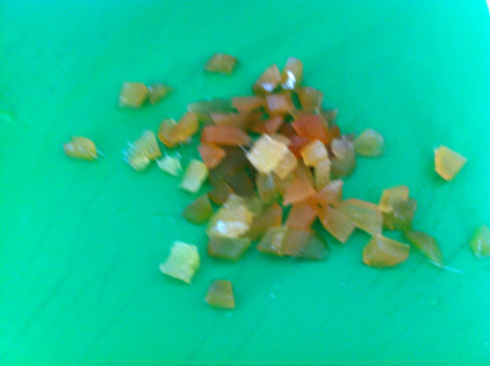 I chopped up three balls of stem ginger into small chunks. These had been rinsed carefully previously so that all the syrup had come off.