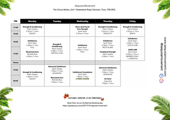 Autumn 2021 Timetable - PM  Classes