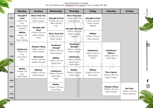 Sequoia Movement Class Timetable