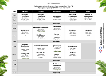 Sequoia Movement Timetable - May 2021