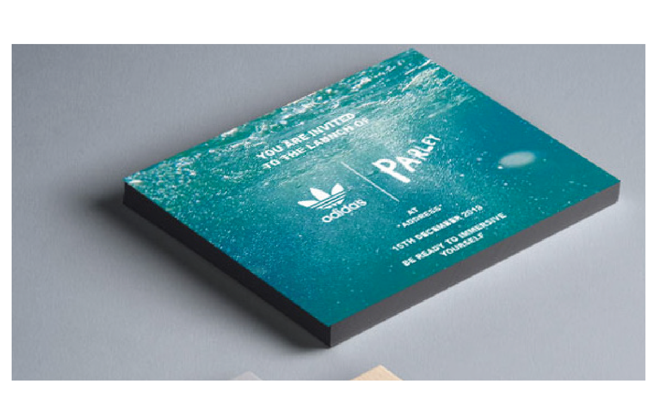 Event invitation for the Adidas X Parley experience