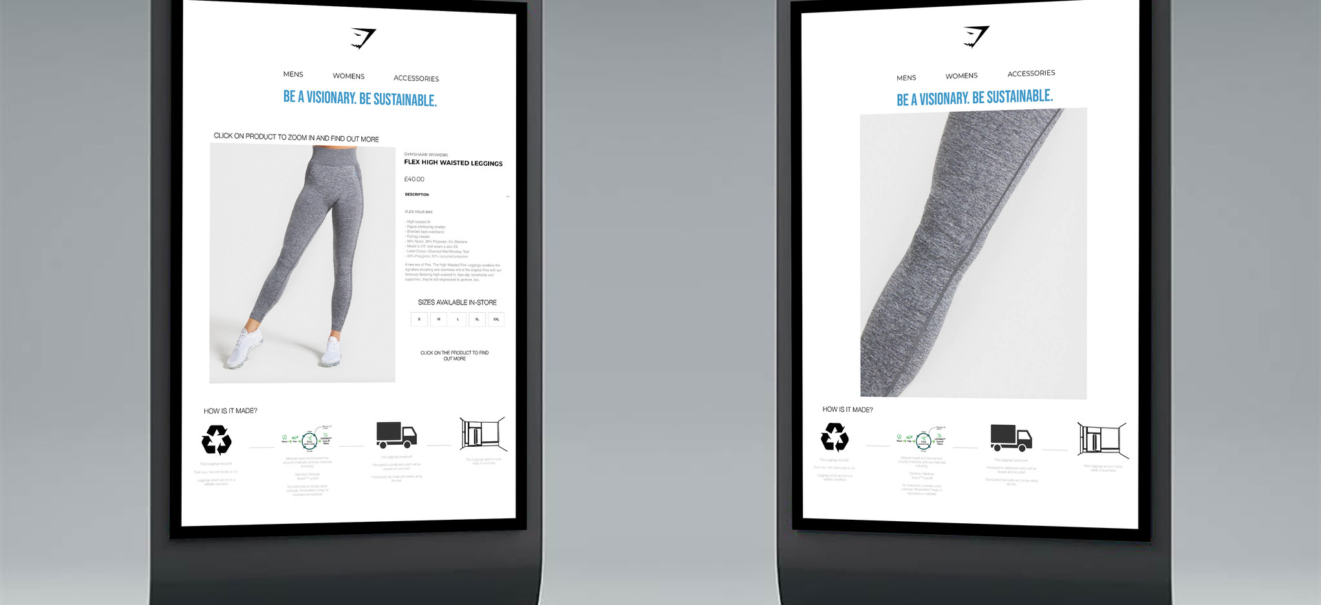 In-store digitial screen. This reflects the swing ticket QR code whereby the consumer is able to look up any product and trace how it was made. On the left is a full screen example and on the right is a zoomed example of the product.