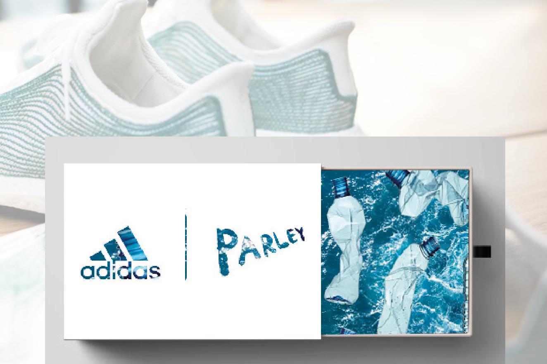 Sliding shoe box concept. Adidas X Parley logo laser cut design.