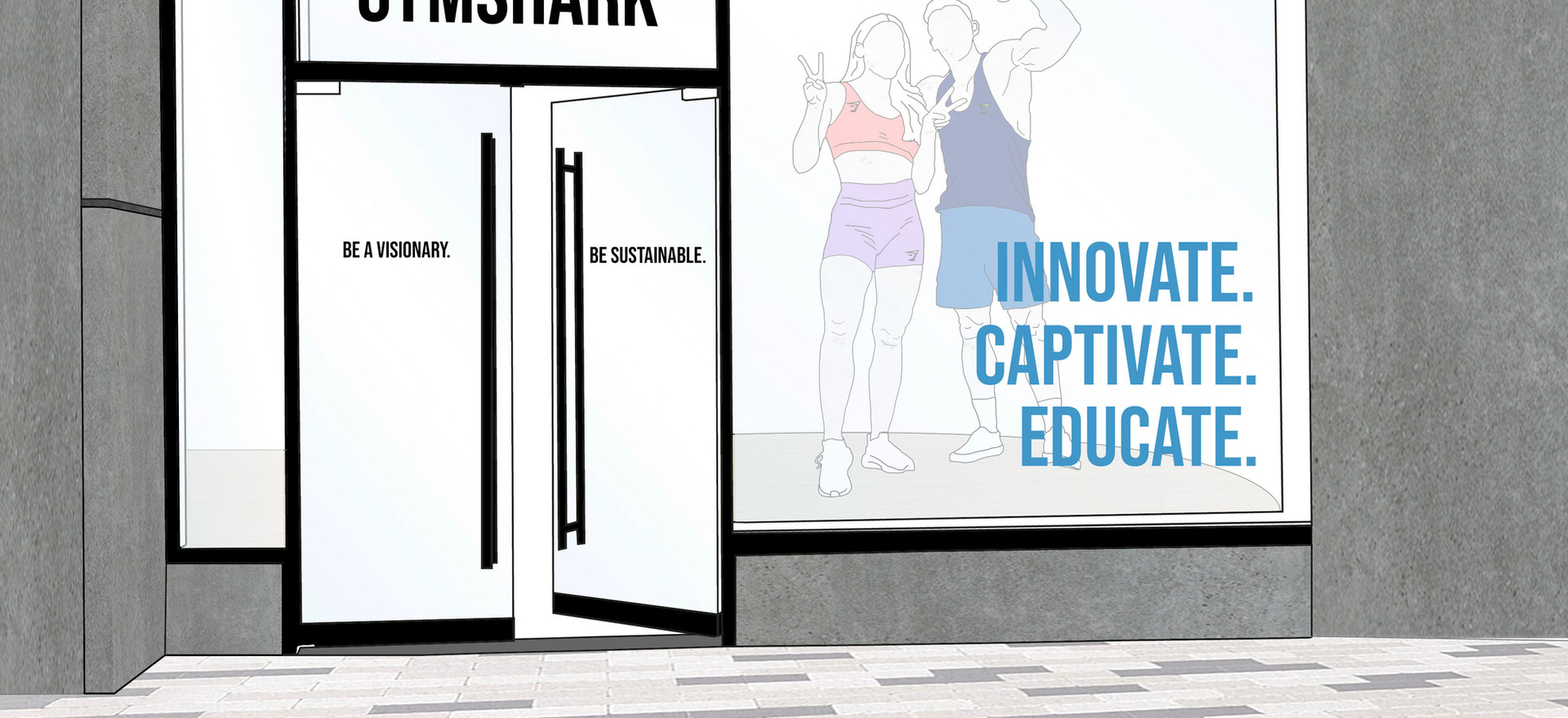 Window display for the brick-and-mortar experience. Reflecting the mission: Innovate, Captivate, Educate.