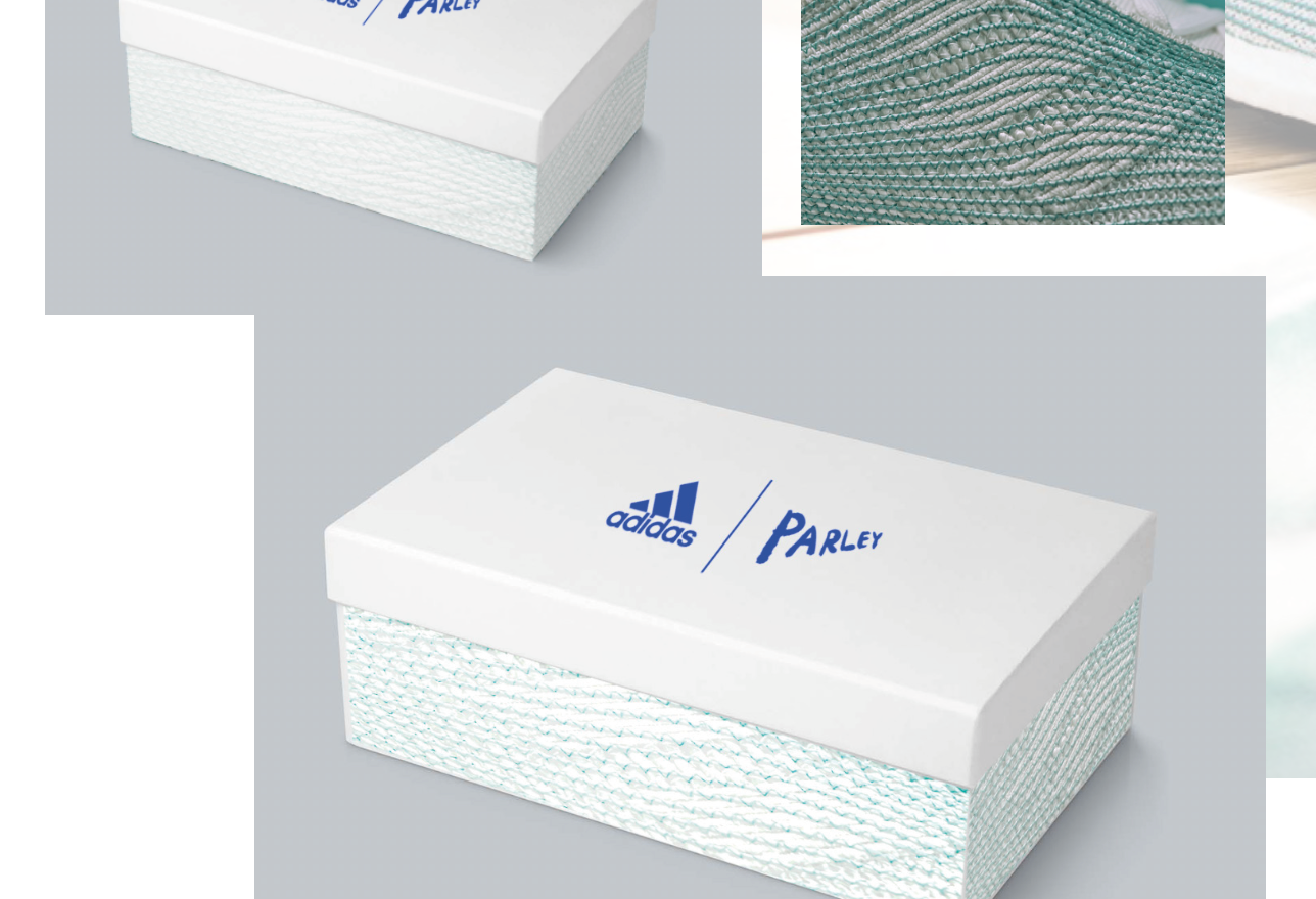 Concept 2 for the Adidas X Parley shoebox. Sides of the box replicate the texture and design of the trainer.