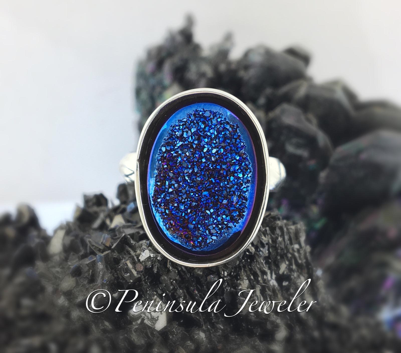 Blue druzy ring