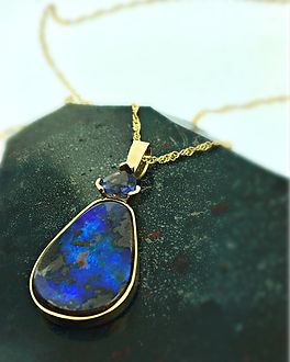 Boulder opal gold necklace