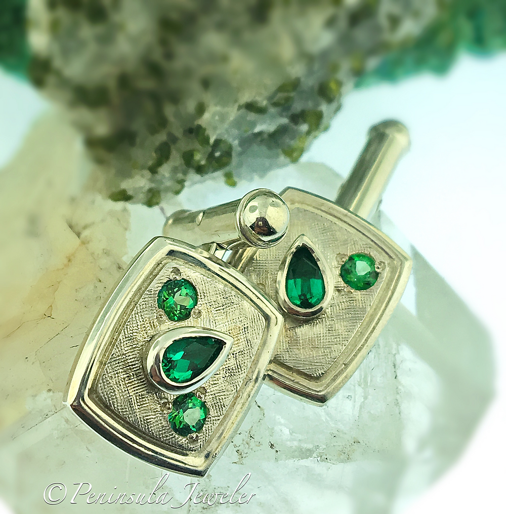 emerald cuff links