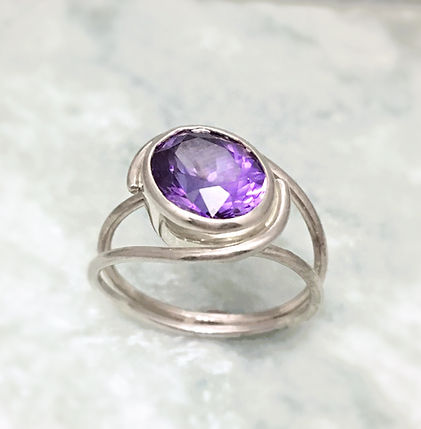 amethyst sterling silver open ring
