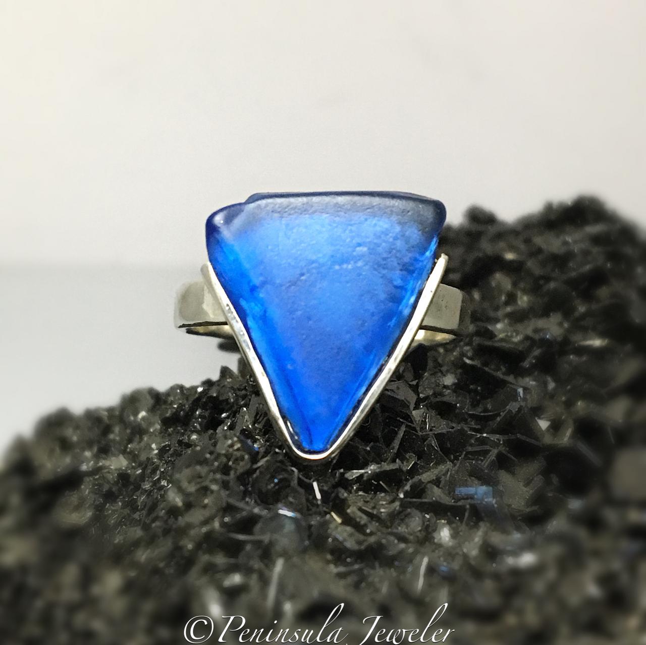 Cobalt Blue Geometric Ring