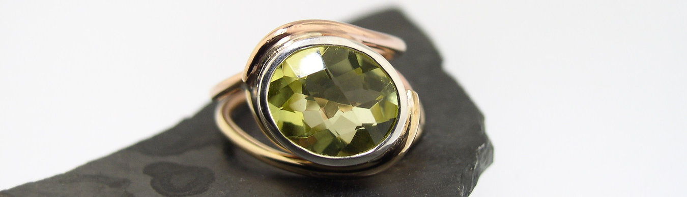 green quartz and gold ring