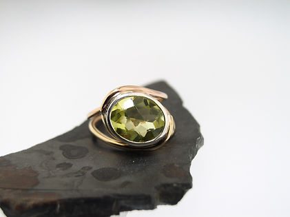 lemon quartz and gold and silver ring