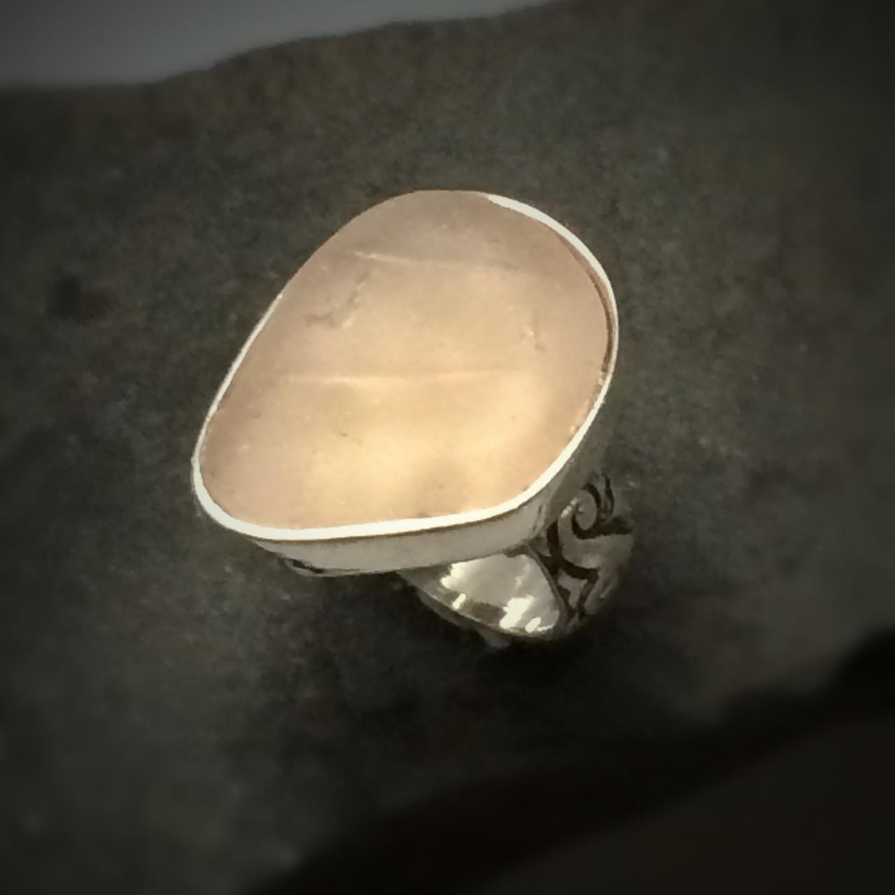 Pink Beach Glass Ring