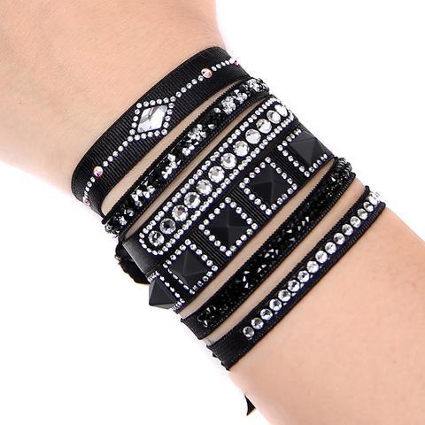 black stacking bracelets