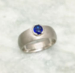 blue sapphire and sterling silver mens ring