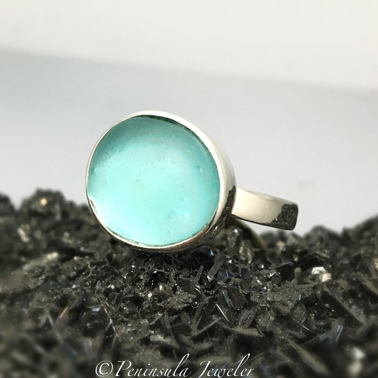 Aqua Beach Glass Ring