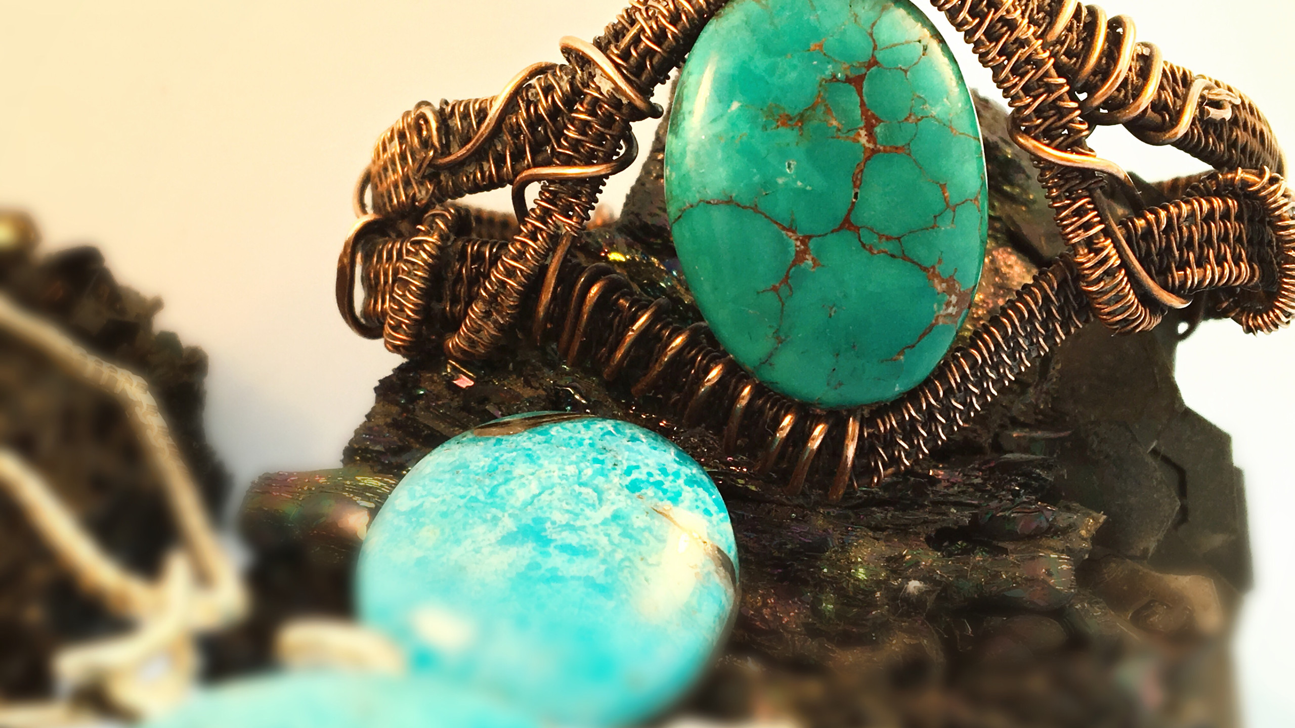 Wire wrapped bracelet- Turquoise