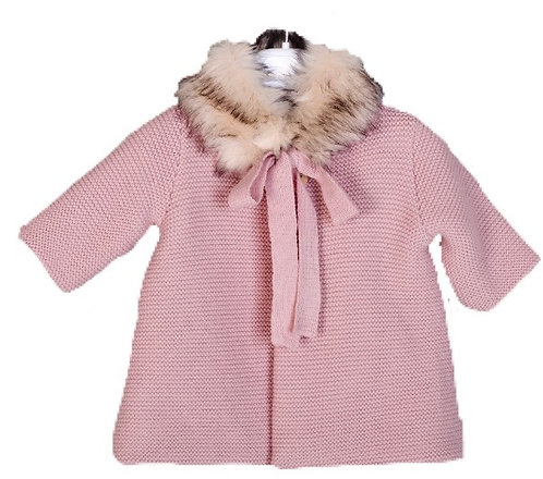 MEBI Nude fur collar coat