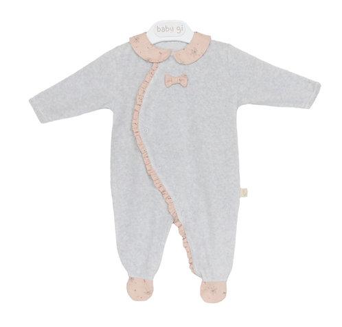 BABY GI Grey/peach print romper