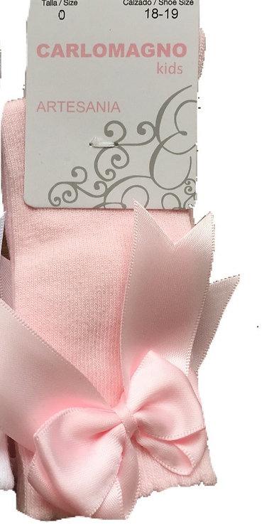 Pink knee high big ribbon bow