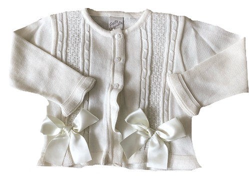 PO Ivory ribbon cardigan