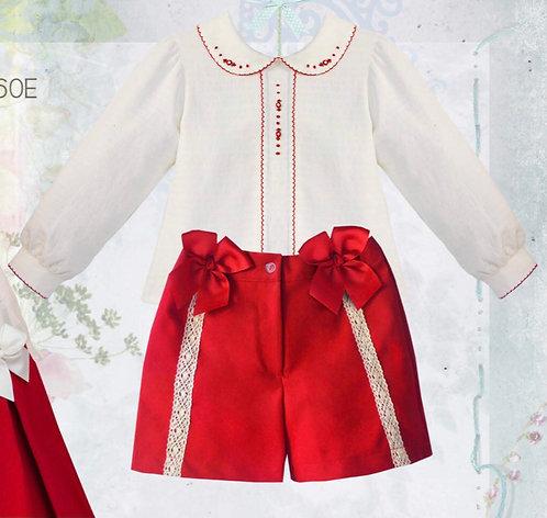 PRETTY ORIGINALS Evergreen red/cream shorts set
