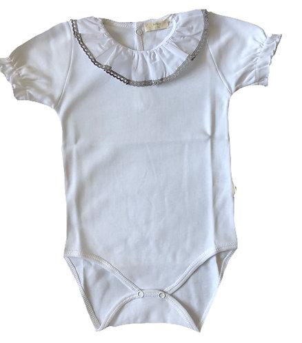 BABY GI grey frill short sleeve body