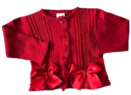 PO red ribbon cardigan