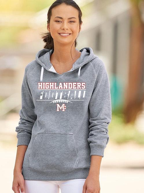 J. America - Women's Sueded V-Neck Hooded Sweatshirt