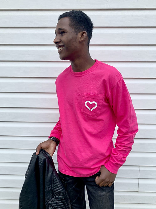 Pink! Comfort Colors Long Sleeve Pocket Tee