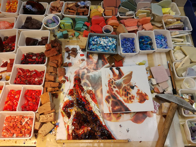 An example of how we prepare our mosaic courses, in venice, at mosaic workshops by Artefact