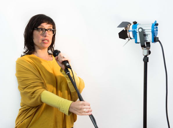 working with camera, lights, microphon and stages