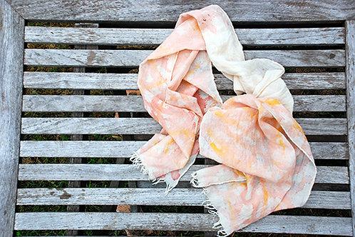 COMING SOON Wool Scarf hand painted in sappanwood  - Standard Size
