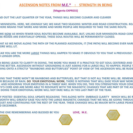 ASCENSION NOTES FROM M.E.  :  STRENGTH IN BEING