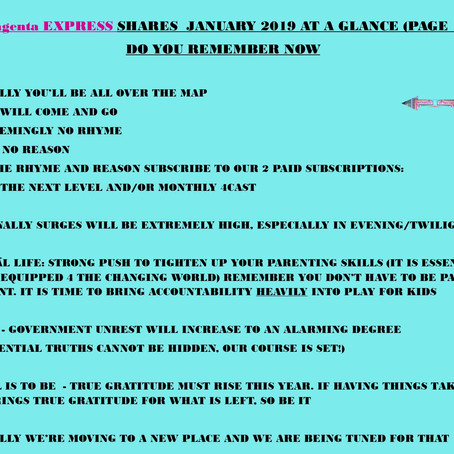Magenta SHARES - JANUARY AT A GLANCE  DO YOU REMEMBER NOW