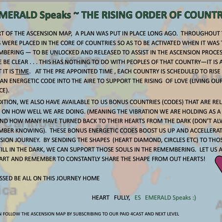 EMERALD Speaks ~ RISING ORDER OF COUNTRIES