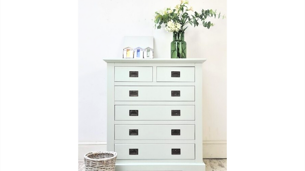 Six Drawer Chest Of Drawers, Pale Blue