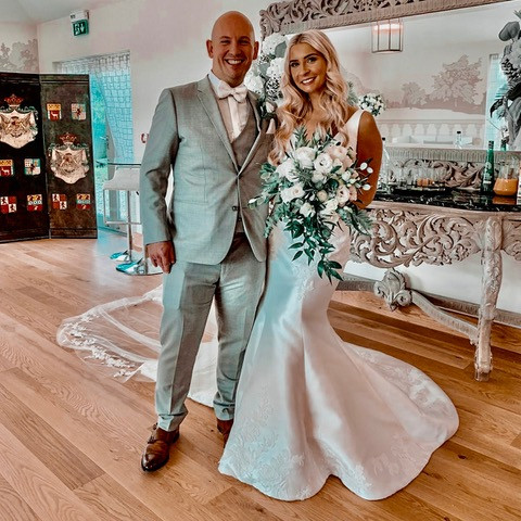 real essex bride in enzoani wedding dress