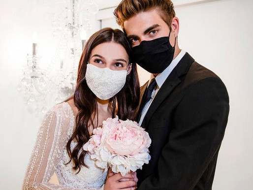 12 Stylish Wedding Face Masks for Couples & Guests