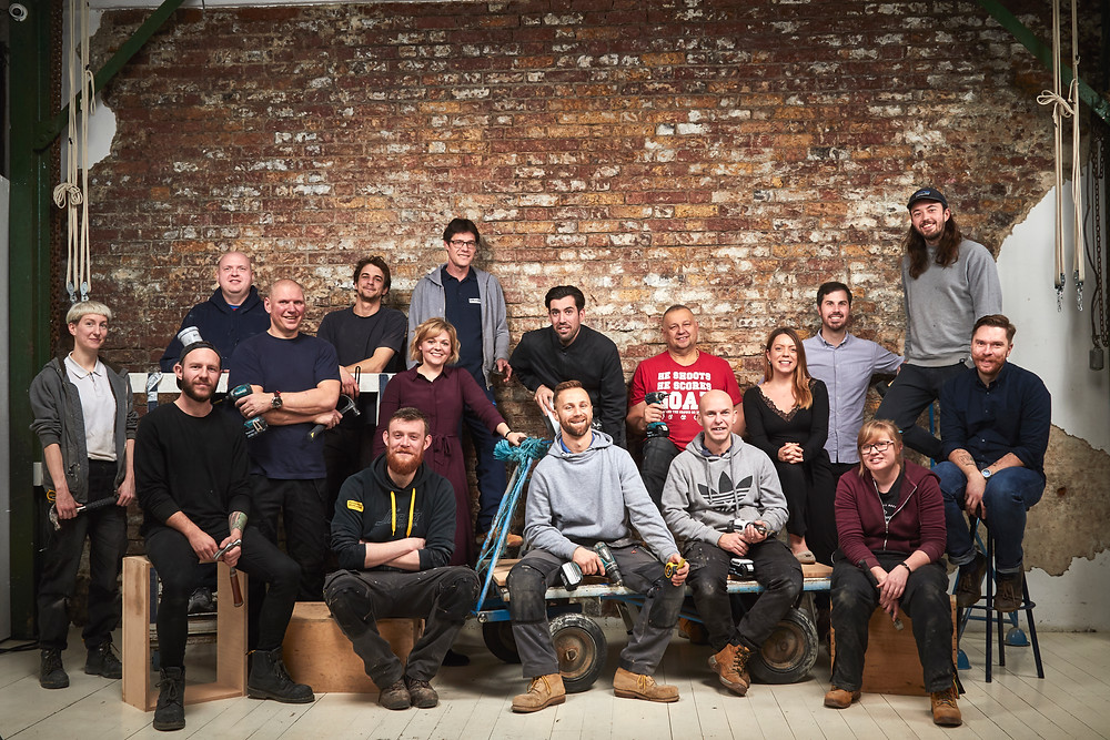 Group shot of staff portraits for Falkus Joinery