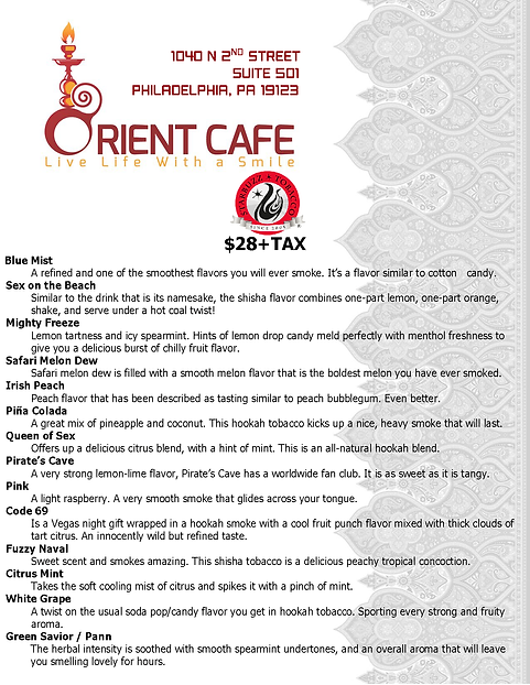 Orient Hookah Lounge Philadelphia Menu