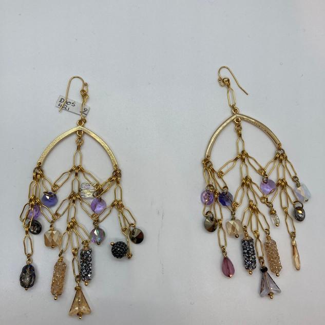 Boucles d'oreilles avec multi-perles Vin