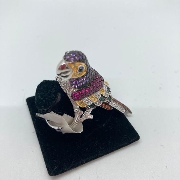 Bague réglable perroquet en argent rhodi