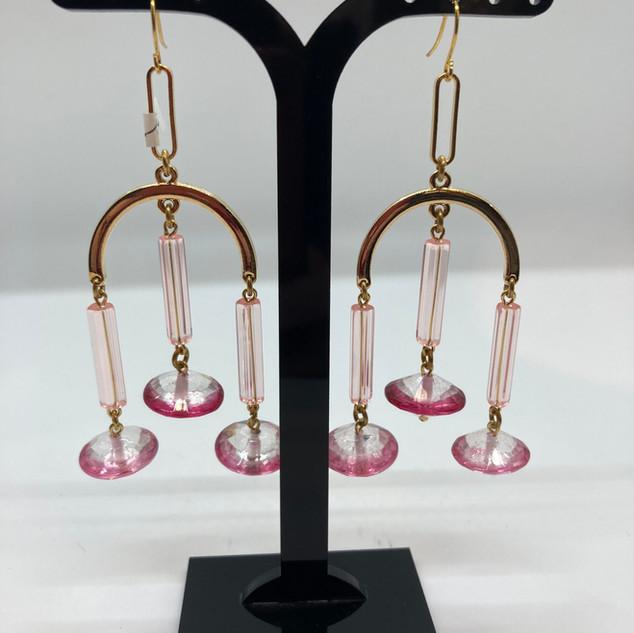 Boucles d'oreilles avec baguettes rose e