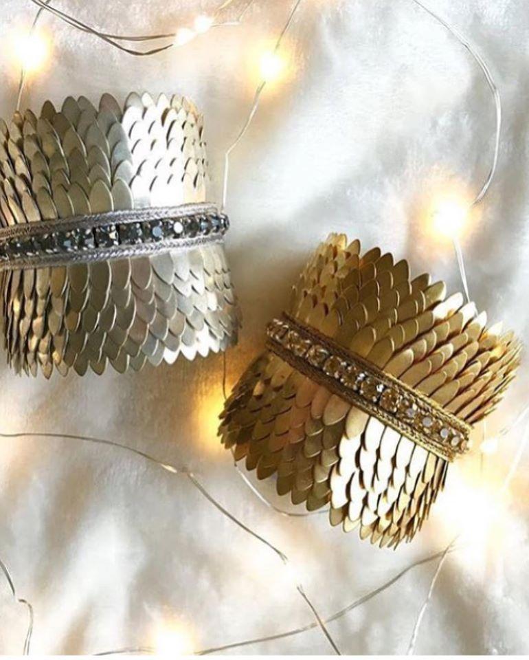 Créateur - manchettes écailles dorée ou chromée